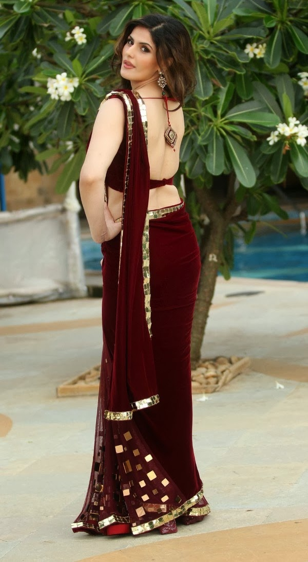 zarine-khan-in-maroon-saree- (2)