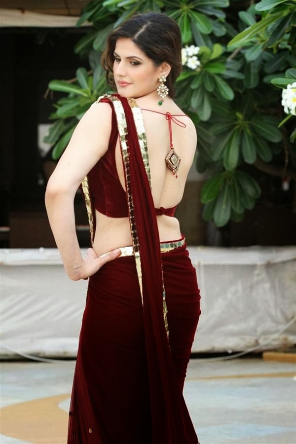 zarine-khan-in-maroon-saree- (6)