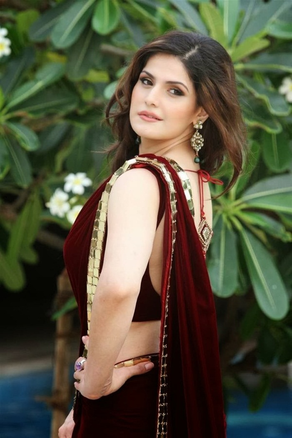 zarine-khan-in-maroon-saree- (8)