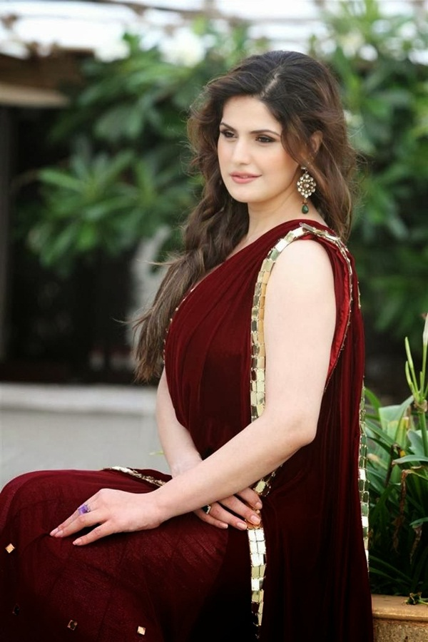 zarine-khan-in-maroon-saree- (9)