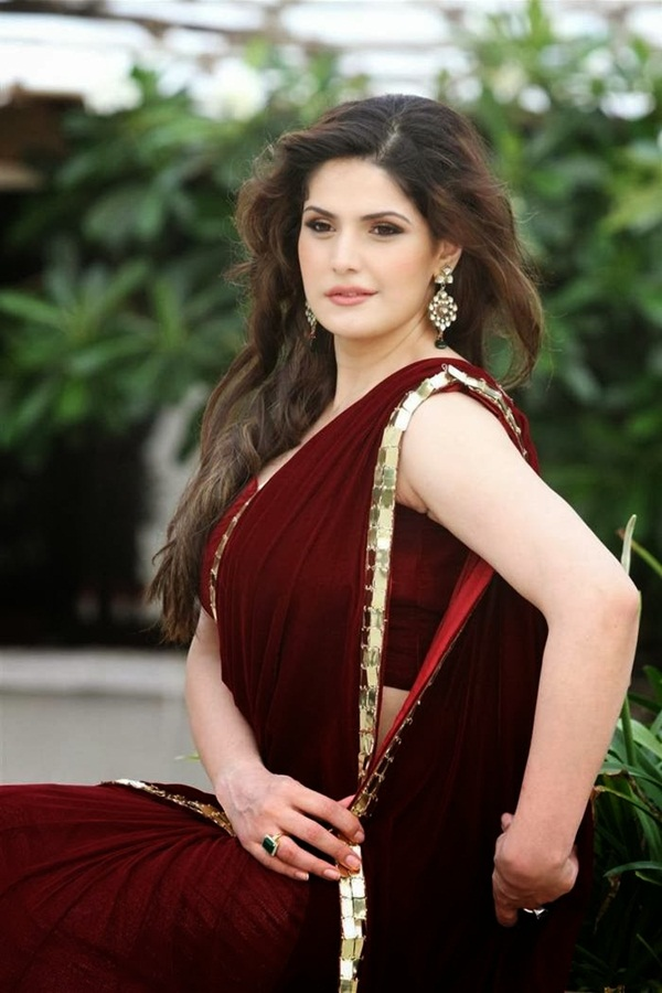 zarine-khan-in-maroon-saree- (10)
