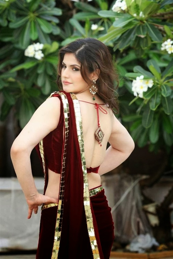 zarine-khan-in-maroon-saree- (11)