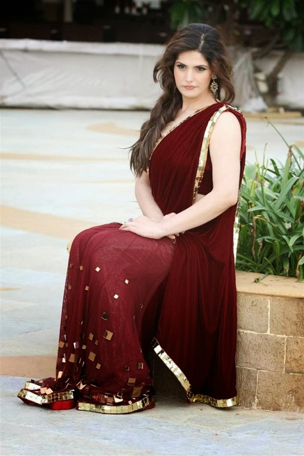 zarine-khan-in-maroon-saree- (12)