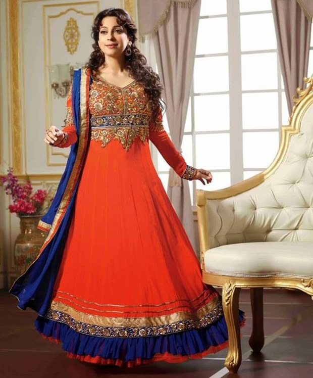 Juhi Chawla Indian Party Wear Designer Dresses 2014 | funmag.org
