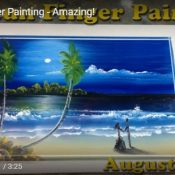 Man Paints Incredible Landscape On a Tile Using Just His Fingers